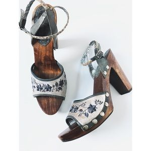 Sam Edelman Wood Block Clog Leather Boho Heels